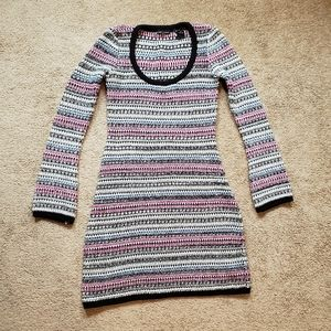 Moda International Striped Metallic Sweaterdress